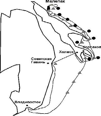 Схема маршрута (места отбора